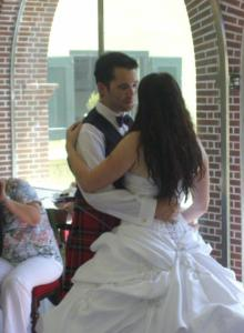 "Dancing to ""Sweet Talk Radio - Dotted Lines"" on our wedding day. It was like something out of a fairytale! :D"