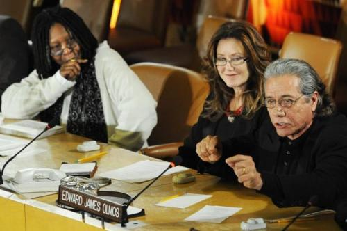 Whoopie Goldberg, Edward James Olmos and Mary McDonald at the UN discussing human rights.